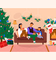 family celebrating new year at home vector image