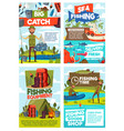 fishing sea and lake fish catch tours vector image vector image