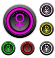 Gender female symbol buttons set vector image vector image