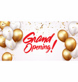 grand opening card design with gold ribbon vector image vector image