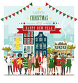 group teens in christmas costume concept vector image