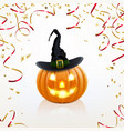 halloween pumpkin with golden confetti vector image