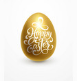 happy easter lettering on golden egg vector image vector image