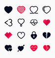 heart symbol set for valentines day vector image