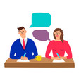 hr managers job interview isolated on white vector image