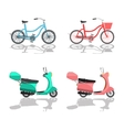 Isolated Scooter Motorbike and Bicycle vector image vector image