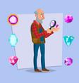 jeweler man eyeglass magnifier jewelry vector image vector image