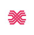 letter x stripes overlapping line geometric logo vector image vector image