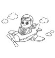 little boy flying in a toy plane coloring page vec vector image vector image