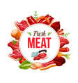meat from butchery shop sign with knife vector image vector image