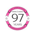 ninety seven years anniversary celebration logo vector image vector image