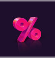 percent sign neon pink percent sign on dark vector image