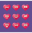 Pink Heart Emoji Character Set vector image