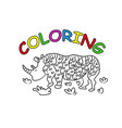 rhinoceros hand drawing coloring book modern vector image vector image