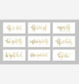 set of 9 golden hand lettering positive quote vector image