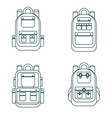 set of different backpacks vector image