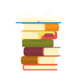 stack books on a white background pile vector image vector image