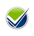 unique green blue check mark circle symbol design vector image