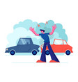 upset driver after car accident on road stressed vector image