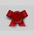 wax realistic seal 3d stamp with red ribbon on vector image vector image