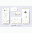 wedding cards collection with goldern decoration vector image