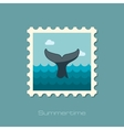 Whale tail stamp Summer Vacation vector image vector image