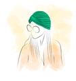 Woman in green turban vector image