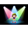 A stage with a young girl dancing vector image vector image