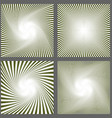 Abstract spiral ray and starburst background set vector image vector image
