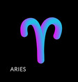 aries text horoscope zodiac sign 3d shape gradient vector image