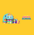 back to school banner kids making book house vector image vector image