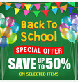 back to school sale poster with student items vector image