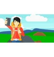 Backpckaer making selfie vector image vector image