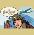 bon voyage girl woman retro aviator pilot vector image vector image