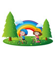boy and girl riding bicycle in park vector image vector image