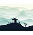 building stands on a hill vector image vector image