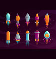 cartoon colorful space missile set vector image