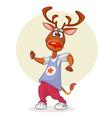 cartoon deer dancing vector image vector image