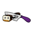 Cartoon Japanese wicked sharp knife cut sushi into vector image vector image