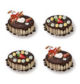 delcious cakes set with chocolate and fruits vector image vector image
