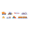 delivery logistics transport car truck and plane vector image