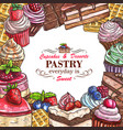 desserts pastry shop sketch poster vector image vector image