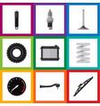 flat icon parts set of crankshaft wheel car vector image vector image