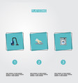 flat icons towel laundromat sweeper and other vector image vector image
