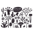 fun hand drawn african plants set cactuses palms vector image vector image