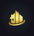 gold building realty company logo vector image vector image