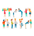 greeting gestures flat characters set vector image vector image