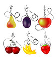 hookah with fruit set vector image vector image