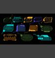 hud game elements luminescent futuristic vector image