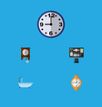 icon flat oneday set of office desk clock shower vector image vector image